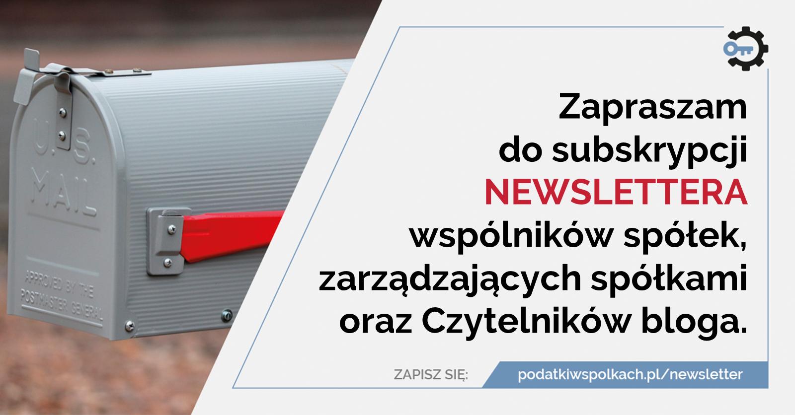 Newsletter bloga podatkiwspolkach.pl